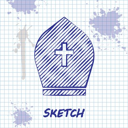 Sketch line Pope hat icon isolated on white background. Christian hat sign. Vector Illustration