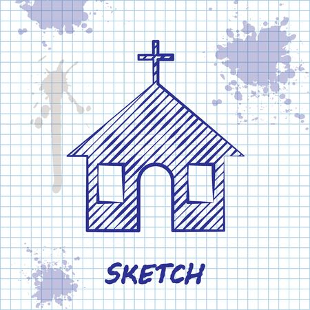 Sketch line Church building icon isolated on white background. Christian Church. Religion of church. Vector Illustration Çizim