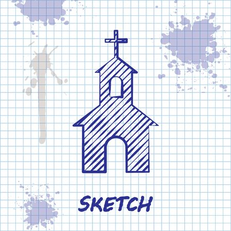 Sketch line Church building icon isolated on white background. Christian Church. Religion of church. Vector Illustration Ilustracja
