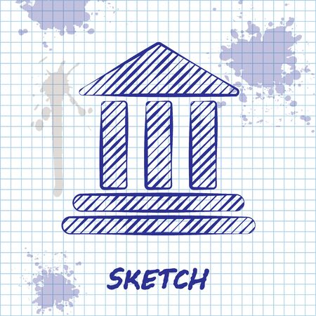 Sketch line Bank building icon isolated on white background. Vector Illustration