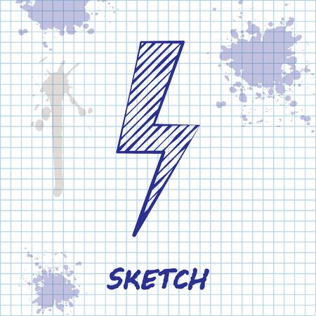 Sketch line Lightning bolt icon isolated on white background. Flash icon. Charge flash icon. Thunder bolt. Lighting strike. Vector Illustration