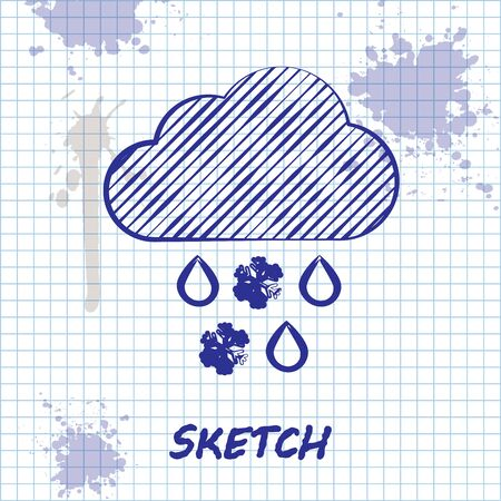 Sketch line Cloud with snow and rain icon isolated on white background. Weather icon. Vector Illustration Illustration