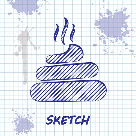 Sketch line Shit icon isolated on white background. Vector Illustration