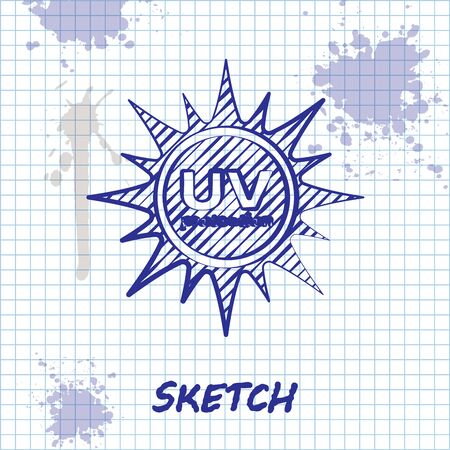 Sketch line UV protection icon isolated on white background. Ultra violet rays radiation. SPF sun sign. Vector Illustration Illustration