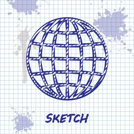 Sketch line Earth globe icon isolated on white background. Vector Illustration