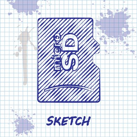 Sketch line Micro SD memory card icon isolated on white background. Vector Illustration