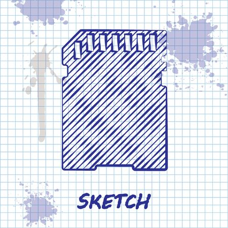 Sketch line SD card icon isolated on white background. Memory card. Adapter icon. Vector Illustration