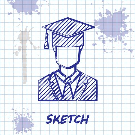 Sketch line Male graduate student profile with gown and graduation cap icon isolated on white background. Vector Illustration Vectores