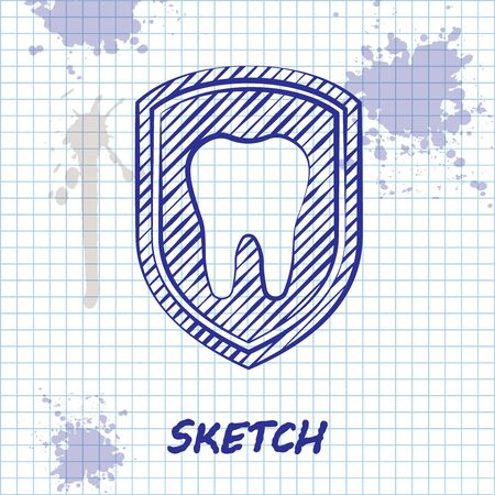 Sketch line Dental protection icon isolated on white background. Tooth on shield logo icon. Vector Illustration