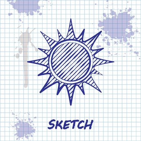 Sketch line Sun icon isolated on white background. Vector Illustration 向量圖像