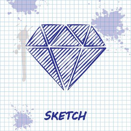 Sketch line Diamond icon isolated on white background. Jewelry symbol. Gem stone. Vector Illustration