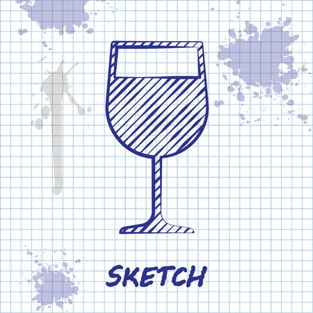 Sketch line Wine glass icon isolated on white background. Wineglass icon. Goblet symbol. Glassware sign. Vector Illustration