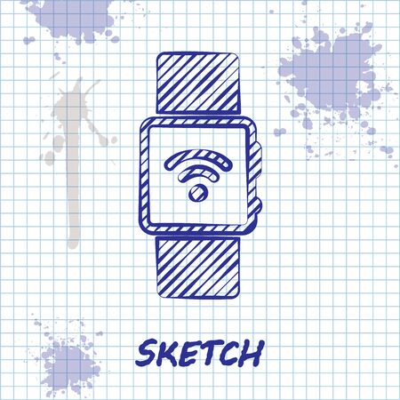Sketch line Smartwatch with wireless symbol icon isolated on white background. Vector Illustration