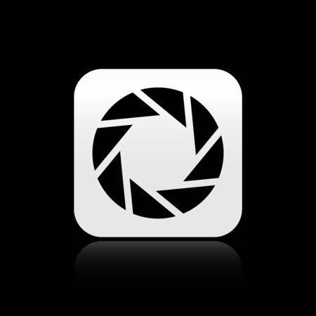 Black Camera shutter icon isolated on black background. Silver square button. Vector Illustration 向量圖像