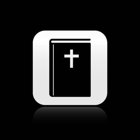 Black Holy bible book icon isolated on black background. Silver square button. Vector Illustration