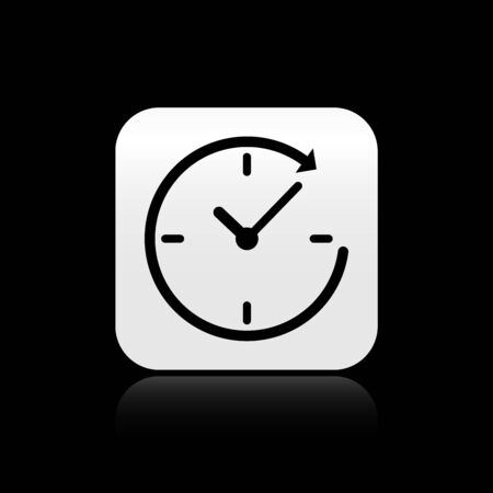 Black Clock with arrow icon isolated on black background. Time symbol. Clockwise rotation icon arrow and time. Silver square button. Vector Illustration