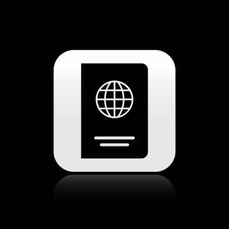 Black Passport with biometric data icon isolated on black background. Identification Document. Silver square button. Vector Illustration 向量圖像