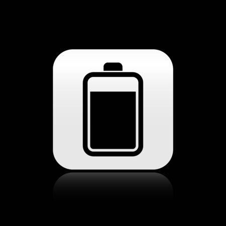 Black Battery icon isolated on black background. Silver square button. Vector Illustration