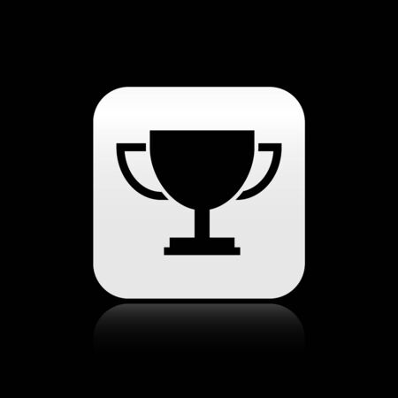 Black Trophy cup icon isolated on black background. Award symbol. Champion cup icon. Silver square button. Vector Illustration