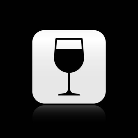 Black Wine glass icon isolated on black background. Wineglass icon. Goblet symbol. Glassware sign. Silver square button. Vector Illustration  イラスト・ベクター素材