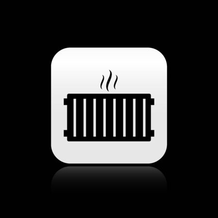 Black Heating radiator icon isolated on black background. Silver square button. Vector Illustration