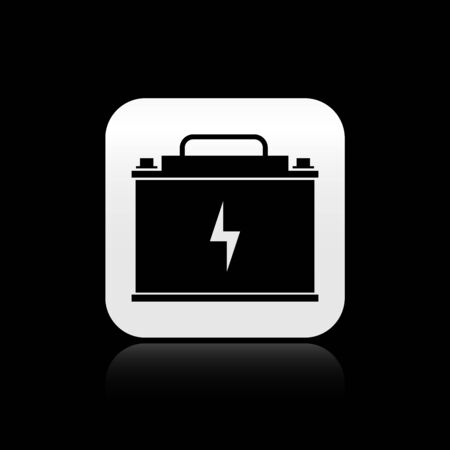 Black Car battery icon isolated on black background. Accumulator battery energy power and electricity accumulator battery. Lightning bolt. Silver square button. Vector Illustration