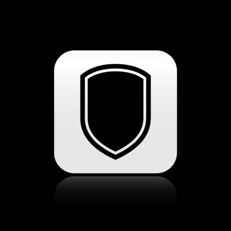 Black Shield icon isolated on black background. Guard sign. Silver square button. Vector Illustration Reklamní fotografie - 128589454