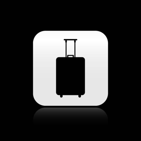 Black Travel suitcase icon isolated on black background. Traveling baggage sign. Travel luggage icon. Silver square button. Vector Illustration
