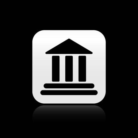 Black Bank building icon isolated on black background. Silver square button. Vector Illustration Ilustração