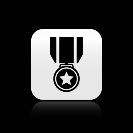 Black Medal with star icon isolated on black background. Winner achievement sign. Award medal. Silver square button. Vector Illustration Ilustração