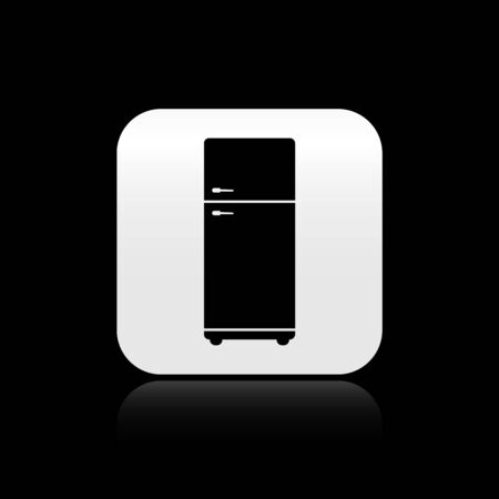 Black Refrigerator icon isolated on black background. Fridge freezer refrigerator. Household tech and appliances. Silver square button. Vector Illustration