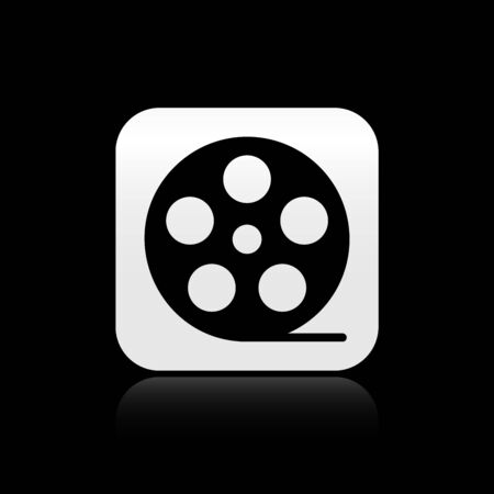 Black Film reel icon isolated on black background. Silver square button. Vector Illustration