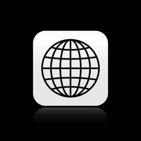 Black Earth globe icon isolated on black background. Silver square button. Vector Illustration