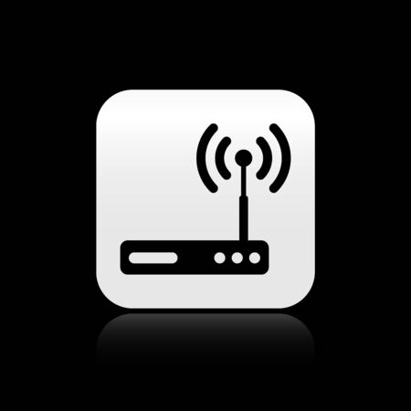 Black Router and wifi signal symbol icon isolated on black background. Wireless  modem router. Computer technology internet. Silver square button. Vector Illustration Illustration