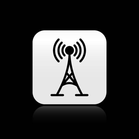 Black Antenna icon isolated on black background. Radio antenna wireless. Technology and network signal radio antenna. Silver square button. Vector Illustration