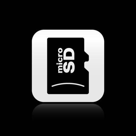 Black Micro SD memory card icon isolated on black background. Silver square button. Vector Illustration Ilustração