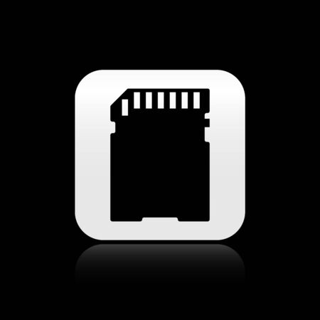 Black SD card icon isolated on black background. Memory card. Adapter icon. Silver square button. Vector Illustration