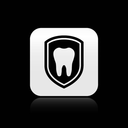 Black Dental protection icon isolated on black background. Tooth on shield   icon. Silver square button. Vector Illustration