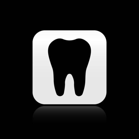 Black Tooth icon isolated on black background. Tooth symbol for dentistry clinic or dentist medical center and toothpaste package. Silver square button. Vector Illustration Illustration