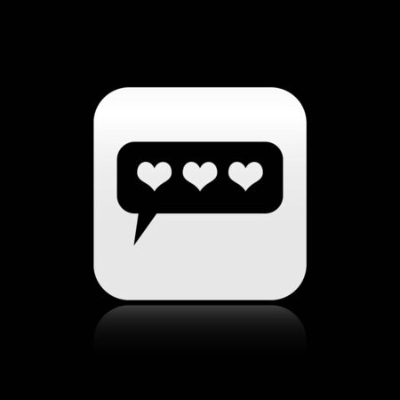 Black Like and heart icon isolated on black background. Counter Notification Icon. Follower Insta. Silver square button. Vector Illustration