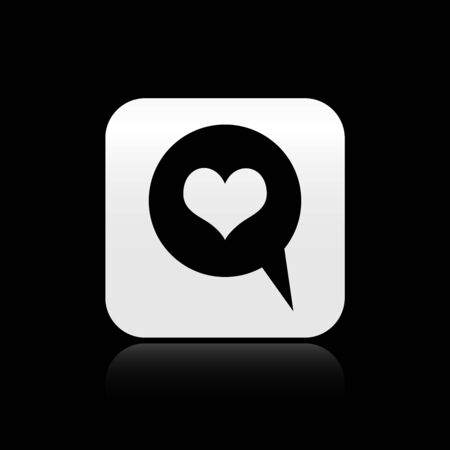 Black Heart in speech bubble icon isolated on black background. Heart shape in message bubble. Love sign. Valentines day symbol. Silver square button. Vector Illustration