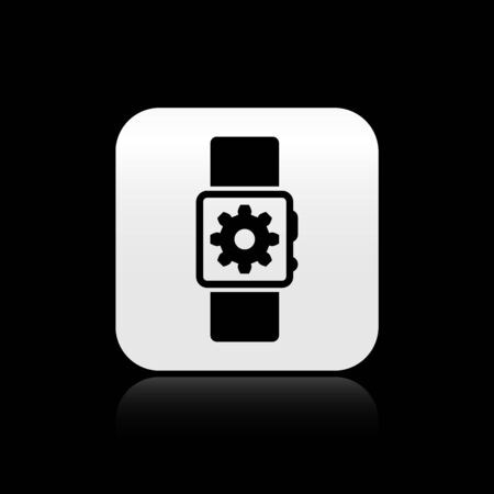 Black Smartwatch setting icon isolated on black background. Smart watch settings. Silver square button. Vector Illustration