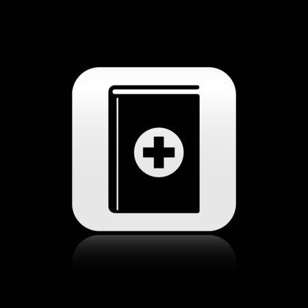 Black Medical book icon isolated on black background. Silver square button. Vector Illustration