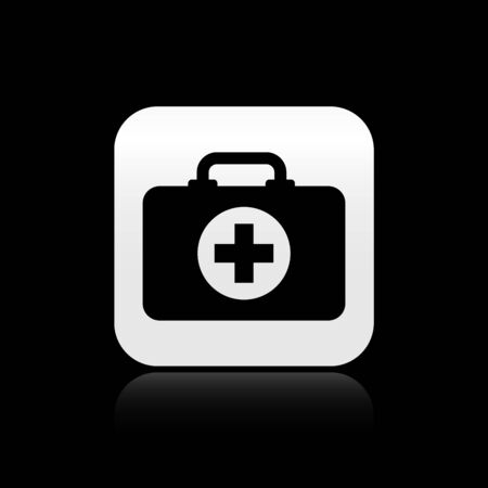 Black First aid kit icon isolated on black background. Medical box with cross. Medical equipment for emergency. Healthcare concept. Silver square button. Vector Illustration 向量圖像