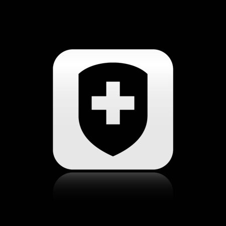 Black Medical shield with cross icon isolated on black background. Protection, safety, password security. Silver square button. Vector Illustration Ilustrace