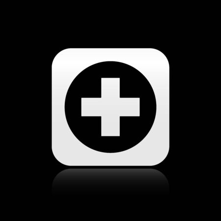 Black Medical cross in circle icon isolated on black background. First aid medical symbol. Silver square button. Vector Illustration