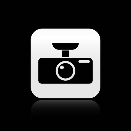 Black Car DVR icon isolated on black background. Car digital video recorder icon. Silver square button. Vector Illustration