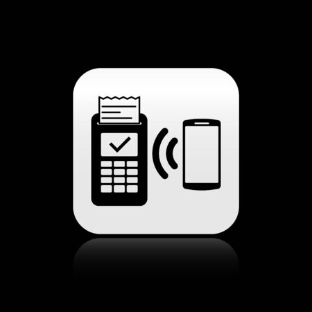 Black POS terminal with printed receipt and confirms the payment by smartphone icon isolated on black background. NFC payment concept. Silver square button. Vector Illustration