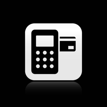 Black Pos terminal with inserted credit card icon isolated on black background. Payment terminal transaction. Silver square button. Vector Illustration
