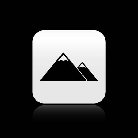 Black Mountains icon isolated on black background. Symbol of victory or success concept. Silver square button. Vector Illustration